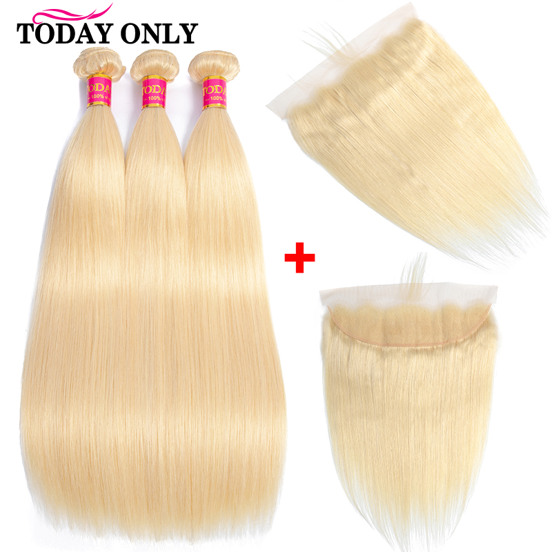 TODAY ONLY Peruvian Hair Bundles With Frontal Straight Human Hair Bundles With Frontal 613 Blonde Bundles