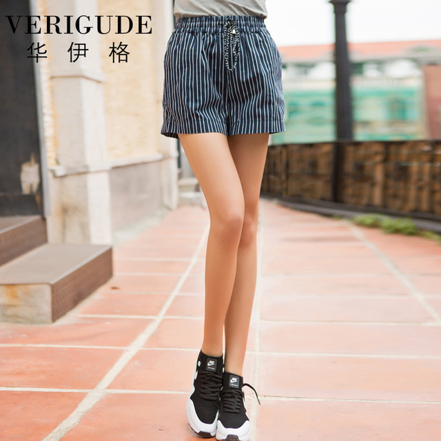 Veri Gude Striped Shorts for Summer Elastic Waist Cotton Material