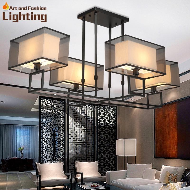 3d Effekt Rectangel Eisen Kronleuchter Moderne Kreative Wohnzimmer Lampe Stoff Und Gaze Lampenschirm 4 Lichter In