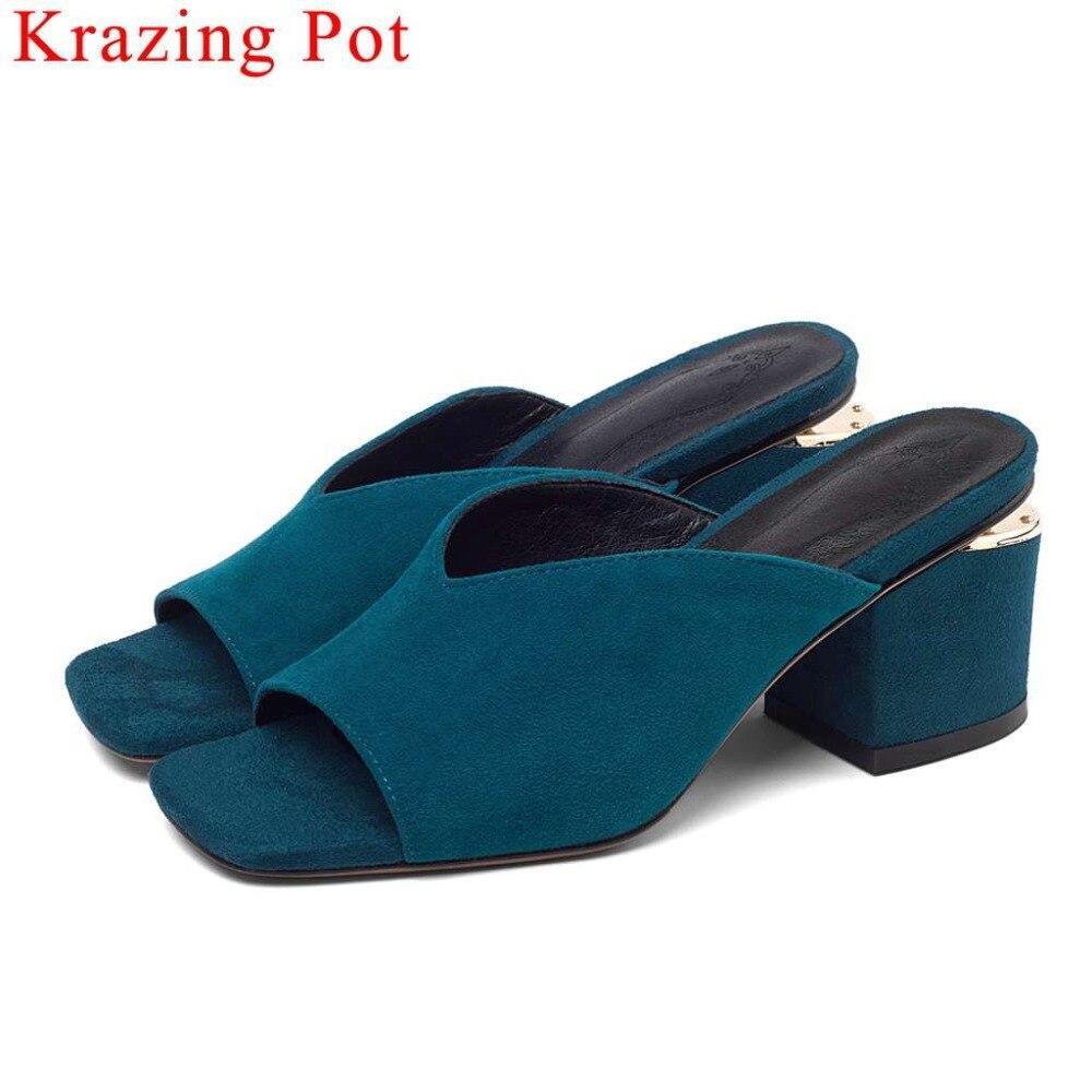 Krazing ポット gentlewoman の複数形新子供スエード分厚いスリップオン女性サンダルのぞき見正方形つま先ミュールプラスサイズディナーパーティー靴 L30  グループ上の 靴 からの ミドルヒール の中 1