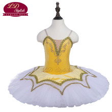 Yellow Adult Stage Performance Ballet Tutu Costumes Women Competition Ballet Dresses Girls Ballet Skirt Children Dancewear