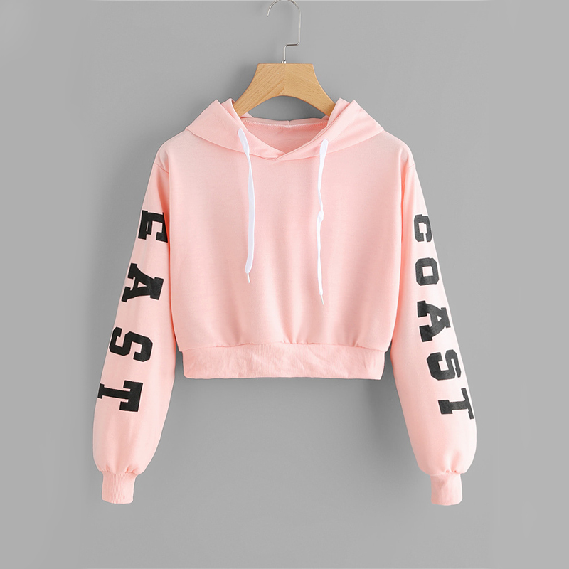Pink Cropped Drawstring Letter Print Hoodie For Women