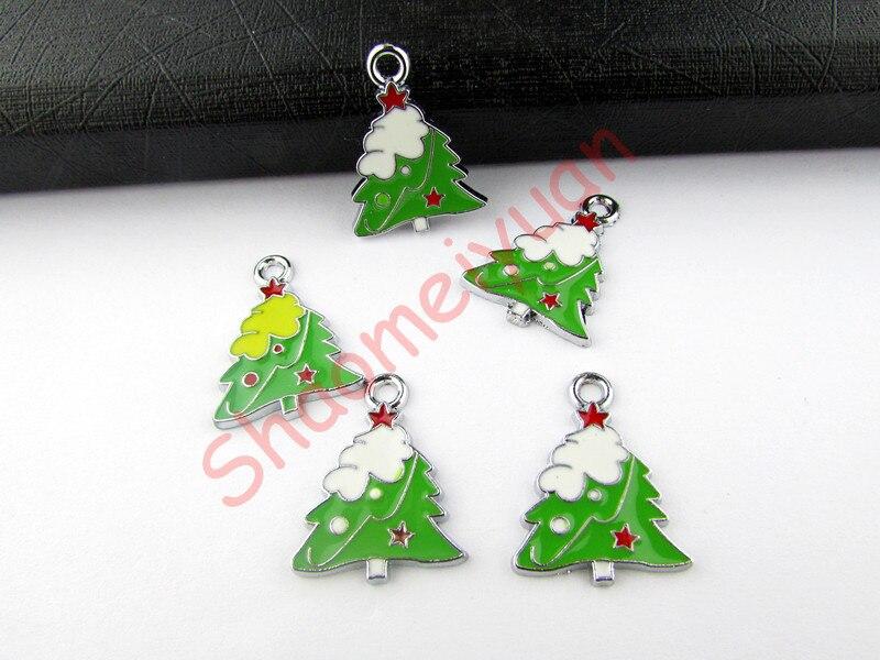 ECM22 смешивания Цвет 20 шт. сплав металлов Эмаль Рождественская елка Подвески 25×18.5 мм шарик