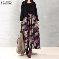 ZANZEA Women Vintage Elegant Dress 2016 Autumn Casual Loose Long Sleeve Floral Print Patchwork Cotton Linen