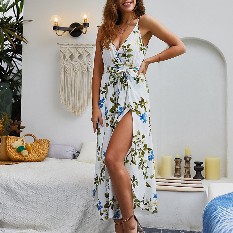 Simple Sexy Floral Print Jumpsuits Women V Neck  Backless Spaghetti Strap Long Overalls Summer Beach Loose Female Jumpsuit 2019