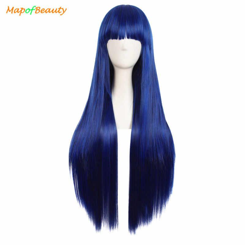 Долгое время прямые женские парики для косплея темно-синие черные 32 ''любовь живой костюм вечерние женские термостойкие синтетические волосы