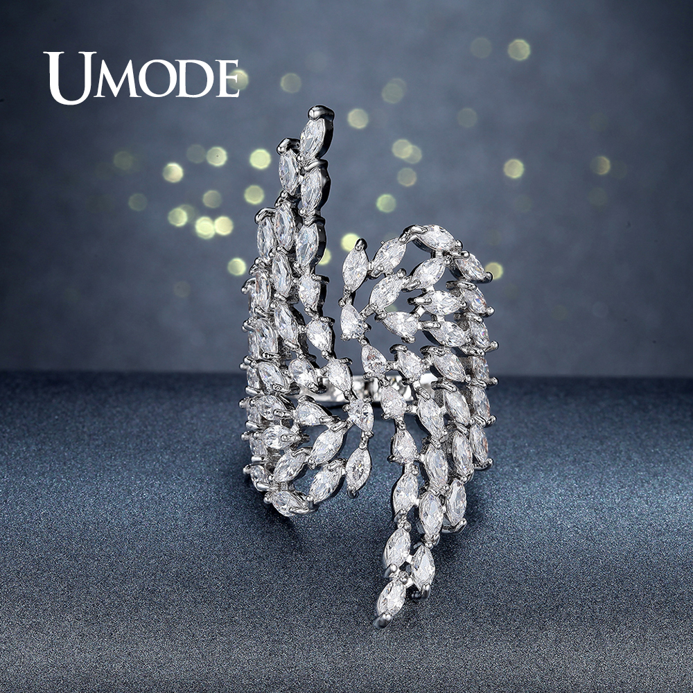 все цены на UMODE Brand Fashion Silver Color Angel Wings Crystal Ring for Women Jewelry Party Cocktail Ring Big Finger Open Anel Gift UR0382