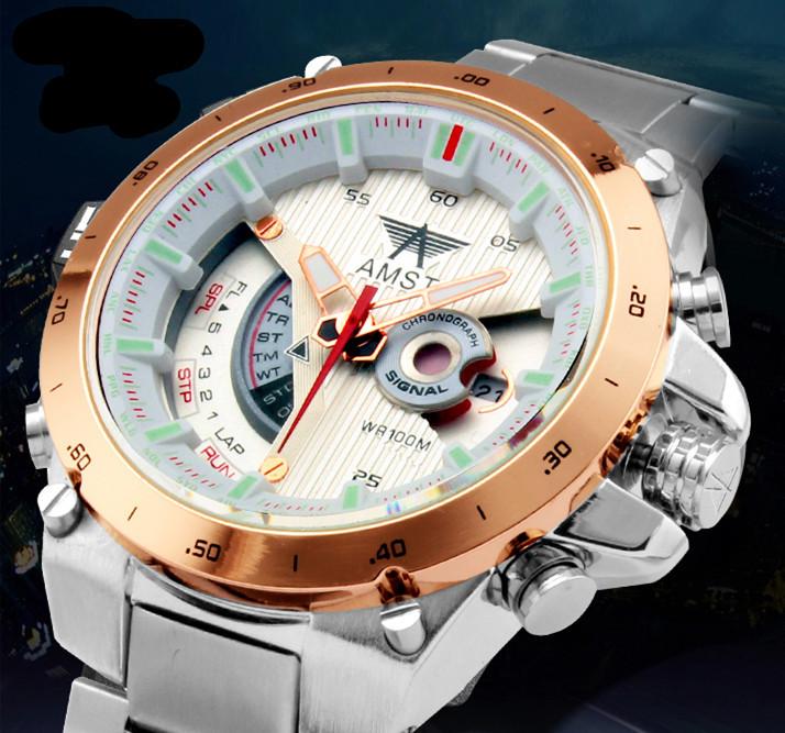 Prix pour Quartz Homme Militaire Montre AMST Acier Inoxydable Montre-Bracelet 2016 Nouvelle Mode Mâle Cadeau De Luxe Sport Montres résistant à l'eau montre