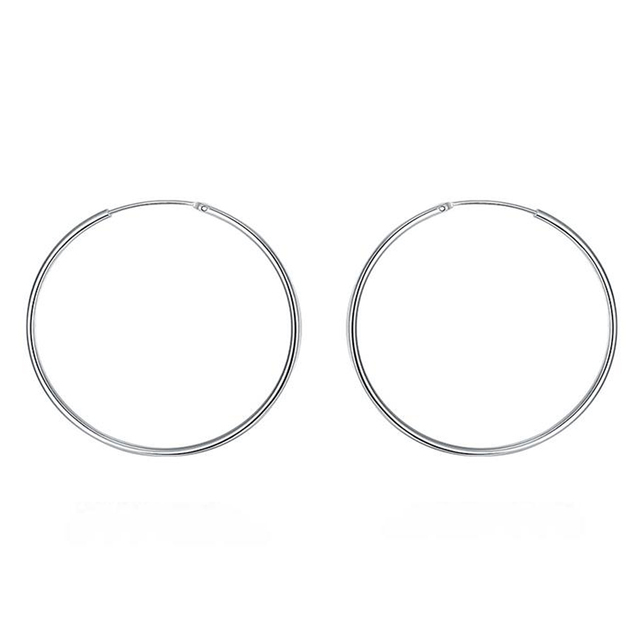 Clic Simple Round Thin Silver Color Hoop Earrings 50mm Never Out Of Fashion Must Have Item