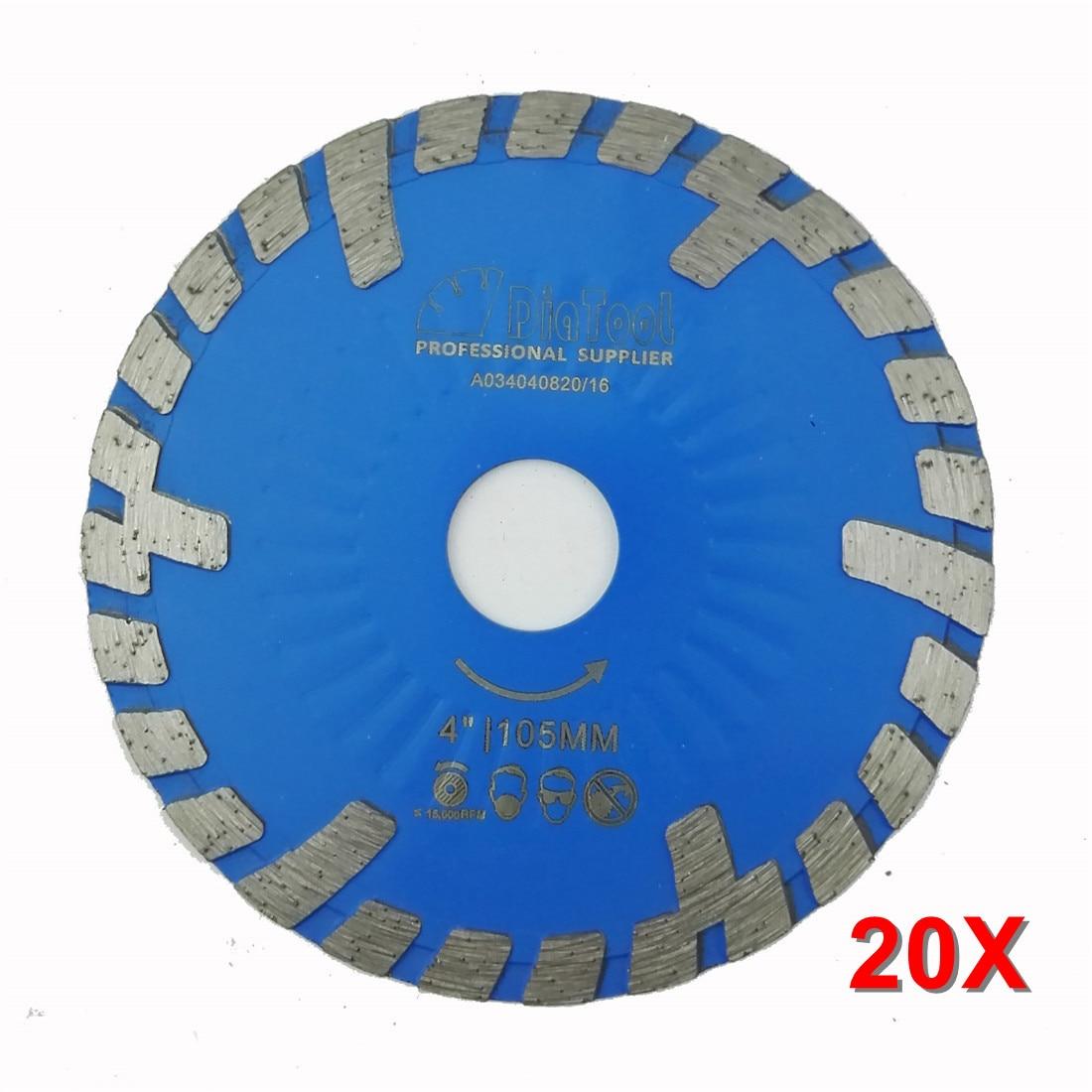 20pcs 105mm Hot Pressed Diamond Turbo Blade With Slant Protection Teeth 4 INCH Diamond Cutting Disc Stone Concrete Diamond Wheel
