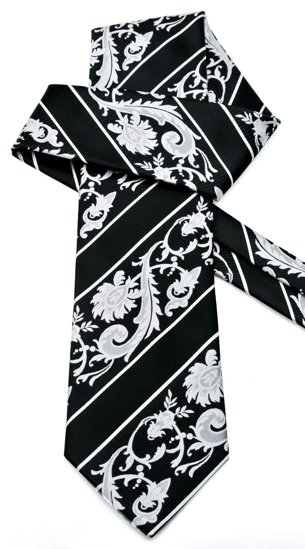 Juodosios baltos juostelės gėlių vyrų kaklaraiščių - Drabužių priedai - Nuotrauka 5