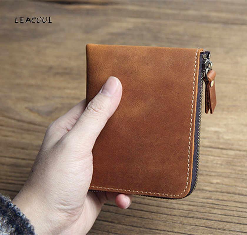 LEACOOL 100% Genuínos Homens de Couro Bolsas Bolsa Da Moeda Homem Famoso Pequeno Curto Portomonee Mini Masculino Titular do Cartão Bolsas Carteira