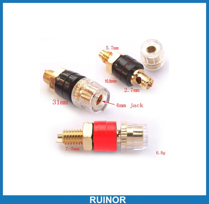 ФОТО 40pcs Copper 4mm Binding Post for Power Amplifierl Speaker Cable Banana Plug