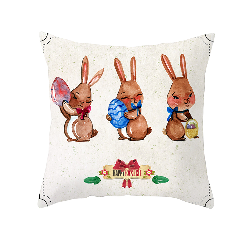 Fuwatacchi easter decoration Cushion Cover Cute Bunny Egg Pillow Covers Home Sofa Party Decor Pillowcases Easter Festival Decor in Cushion Cover from Home Garden