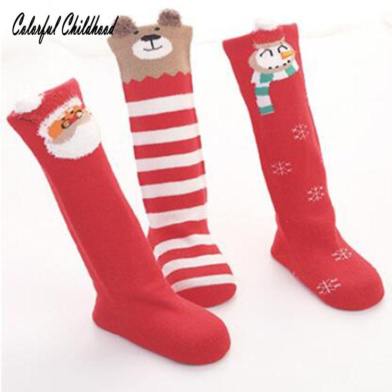 3pairs/lot Baby Socks Christmas Infant Newborn Kids Socks Cotton Knee High Long Socks Toddler Baby Boy/girls Socks Autumn Winter