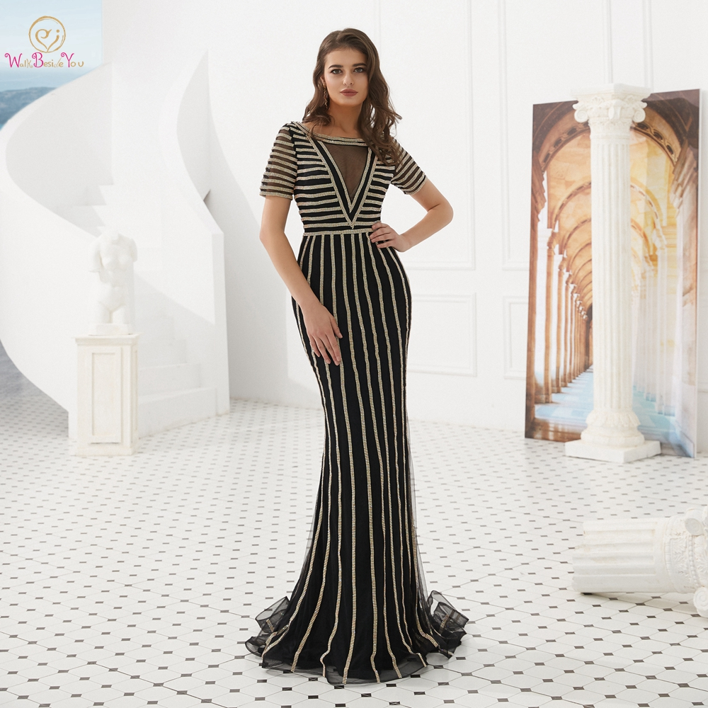 Evening Dresses Party Long 2019 Black Rhinestone Sheer Neck Short Sleeves Mermaid Dubai Mermaid Sexy Prom Gowns Walk Beside You