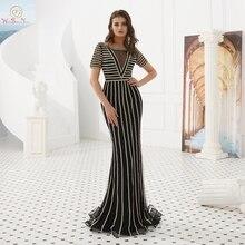Evening Dresses Party Long 2019 Black Rhinestone Sheer Neck Short Sleeves Mermaid Dubai Sexy Prom Gowns Walk Beside You