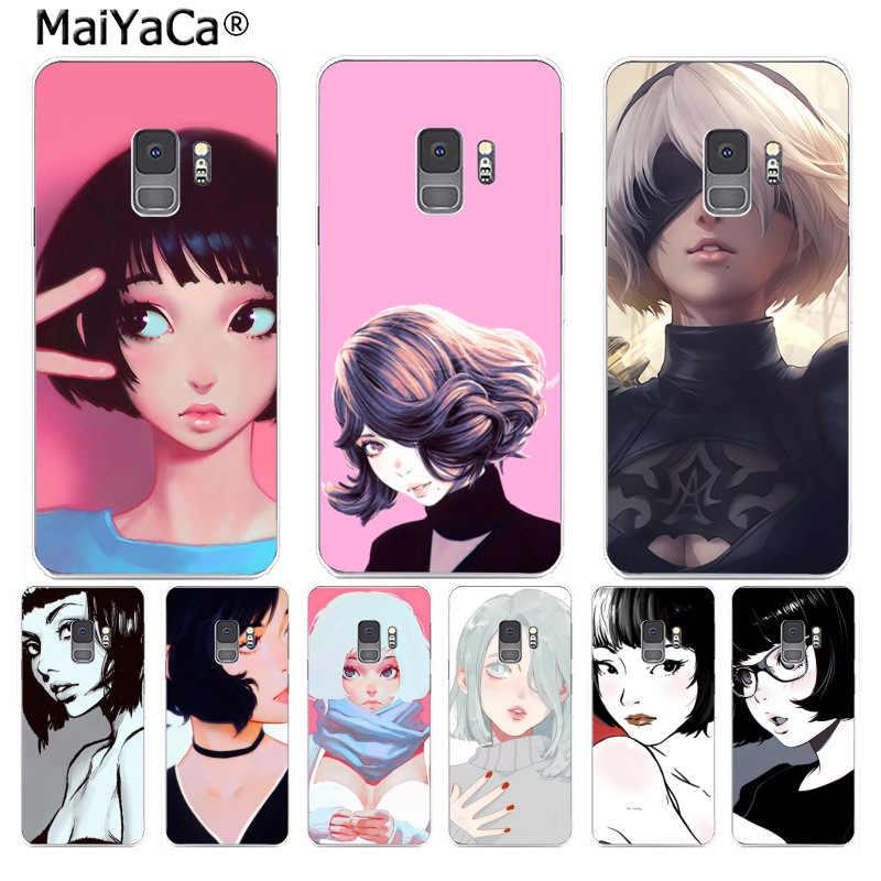 MaiYaCa милые короткие волосы иллюстрация девушка чехол для телефона Мода для samsung S9 S9 плюс S5 S6 S6edge S6plus S7 S7edge S8 s8plus