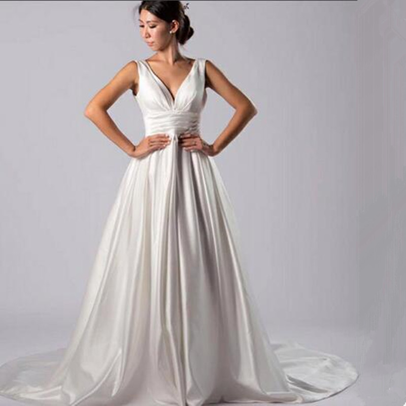 Vinca Sunny Beach Wedding Dresses 2019 Sexy V Neck Backless Vestido Noiva Praia Simple White Satin Casamento Bridal Gown Custom