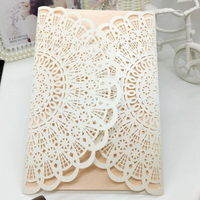 50pcs Pack New Design Laser Cut Luxury Flora Wedding Invitations Card Elegant Baby Shower Event Birthday
