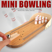 Toys for Children Mini Bowling Games Wooden Miniature Ball Set Kids Adults Party Fun