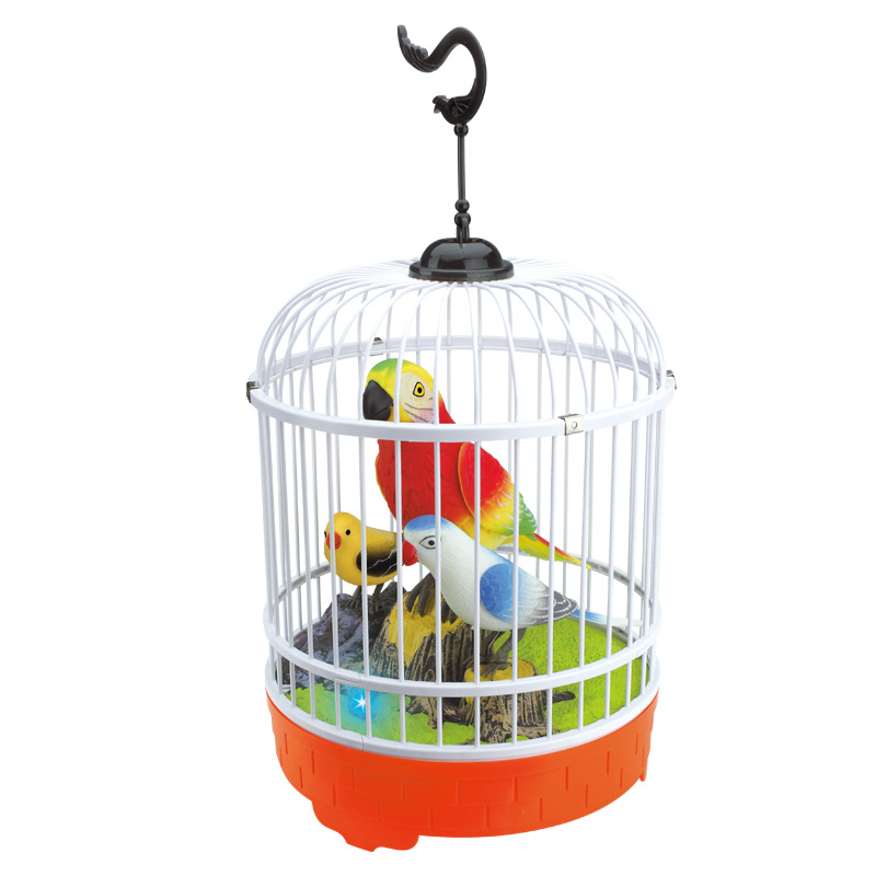 Voice Control Electric Simulation Induction Sing Move Bird Cage Birdcage Toy Home Decoration Garden Ornaments Chrismas Gift