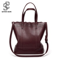 SEVEN SKIN Brand Large Capacity Shoulder Bags For Women Handbag Female High Quality Hollow Out Leather