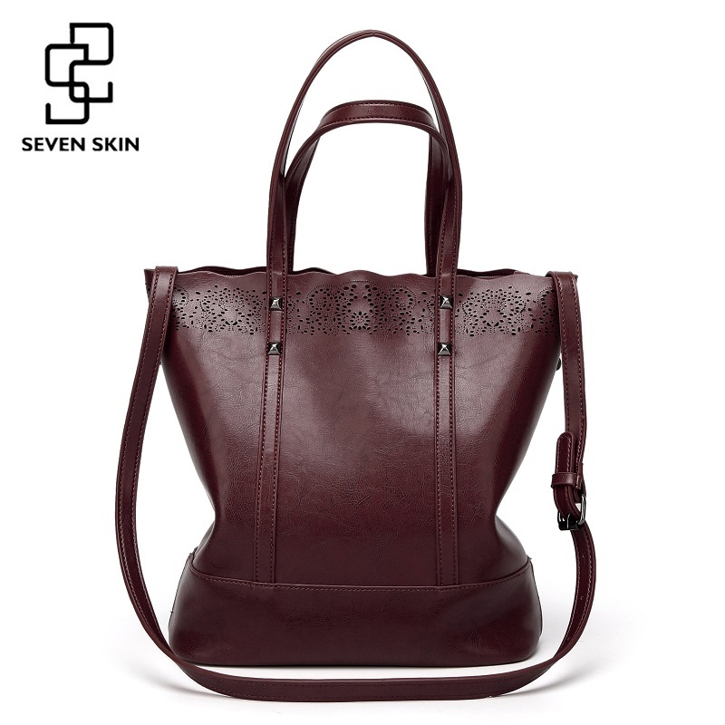 SEVEN SKIN Brand Large Capacity Leather Handbags Female High Quality Casual Tote Bags Women's Shoulder Bag Hollow Out Women Bag [whorse] brand high quality women genuine leather shoulder bags cowhide ladies casual tote bag large capacity wa5054 7