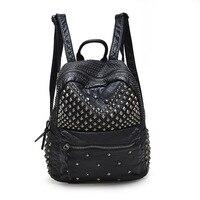 Fashion Japan And Korean Style Waterproof PU Leather Rivet Backpack Waterproof Women S Backpacks For Teenage