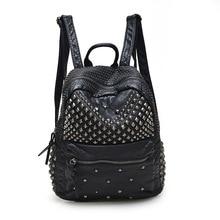Женcкий модный водонепроницаемый рюкзак заклепки из искусственной кожи водонепроницаемые женские рюкзаки для леди девочек-подростков сумки с застежками-молниями