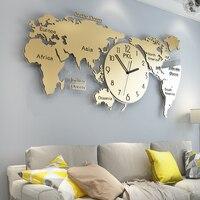 World Map Large Wall Clock Modern Design 3D Stickers Hanging Clocks Wall Watch Unique Digital Wall Clocks Home Decor Silent