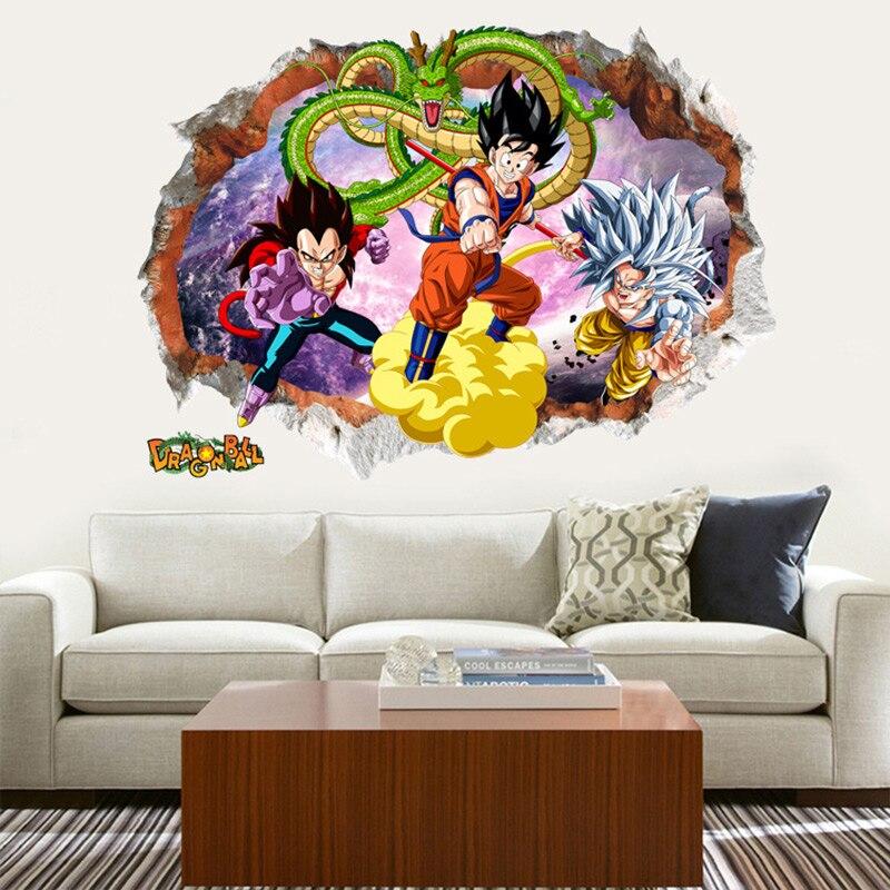 2018 Creative Mur Autocollant 3D Mur Brisé Conception de Bande Dessinée Film Dragon Ball Pour Enfants Chambres Décoration Murale Art Papier Peint
