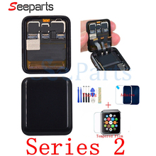 ЖК дисплей для Apple Watch Series 2, ЖК дисплей, сенсорный экран, дигитайзер, серия 2 S2 38 мм/42 мм, замена экрана Pantalla + закаленное стекло + Инструменты