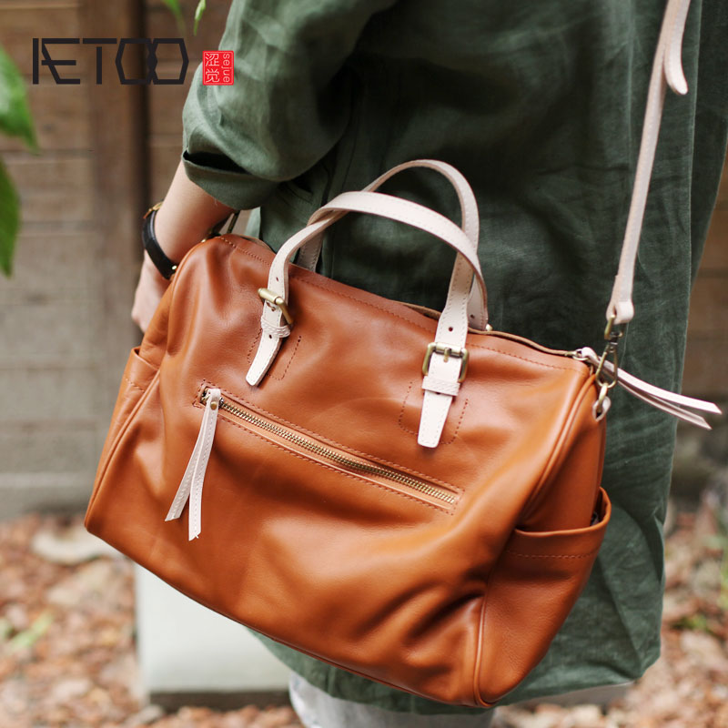 AETOO Autumn and winter new simple top layer soft leather large capacity portable Boston bag ladies bag leather pillow bagAETOO Autumn and winter new simple top layer soft leather large capacity portable Boston bag ladies bag leather pillow bag