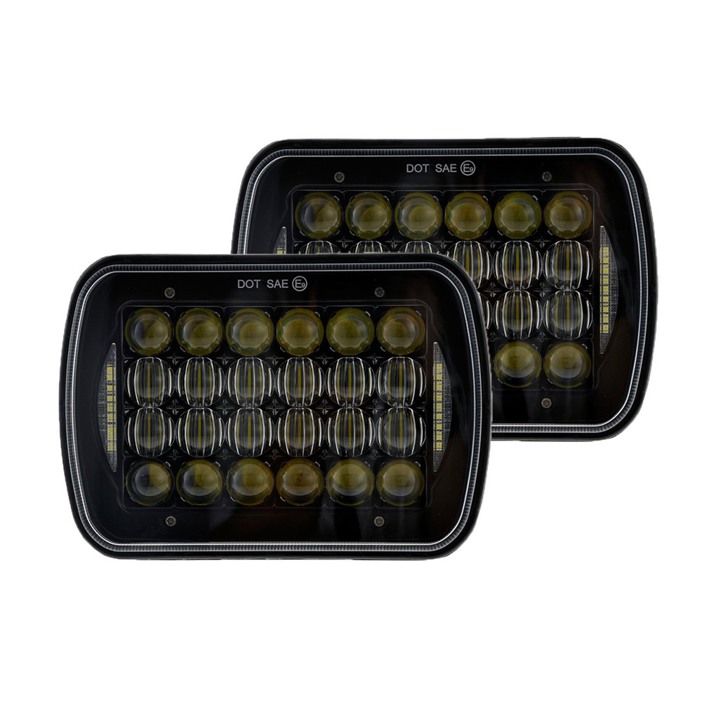 Truck Black 7x6 90W Led Headlights Conversions Sealed beam With Angel Eyes Halo DRL DOT SAE