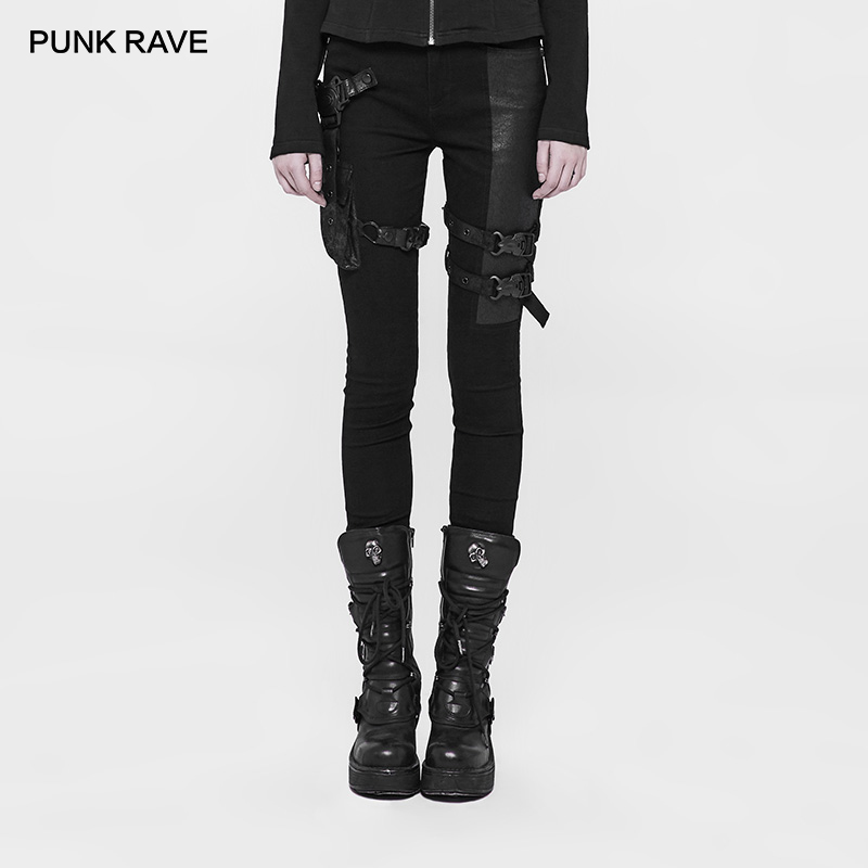 PUNK RAVE Futuristic Movie Woman Warrior Punk Pants Leather Pocket Black Tight Trousers Party Casual Women Pants Visual Kei
