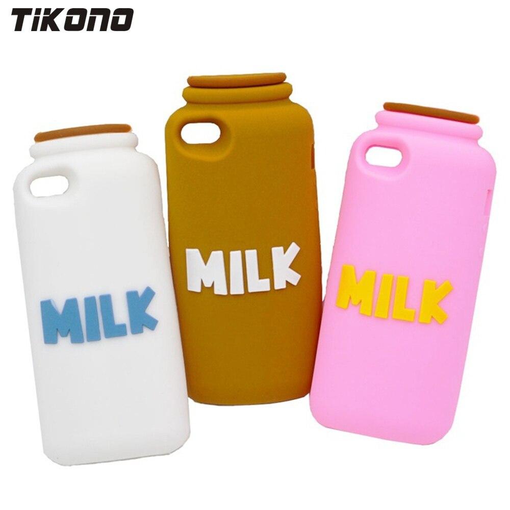Tikono 3d Melkfles Ontwerp Soft Silicone Case Cover Voor Iphone 5 5 S Leuke Mobiele Telefoon Terug Case Met Stylus Pen Aantrekkelijk Uiterlijk