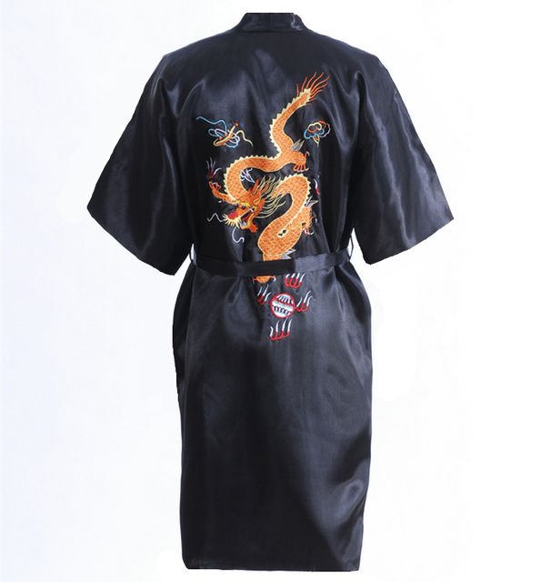 Venda quente preto homens chineses de cetim bordado Robe Kimono banho vestido de primavera e outono com tamanho de bolso sml XL XXL S0103-A