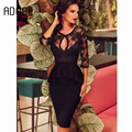 Sexy Black Lace Scoop Three Quarter Sleeve Two Piece Ruffles Sheath Cocktail Dresses  for cocktail party