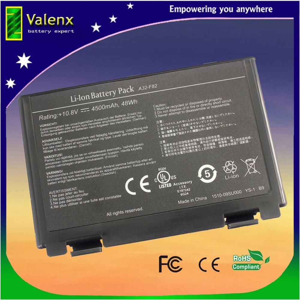 batteria del computer portatile per Asus A32-F52 A32-F82 L0690L6 L0A2016 F82 K40 K50 K51 K60 K61 K70 P81 X5A X5 X70 X8 X KA K50IJ K50ab