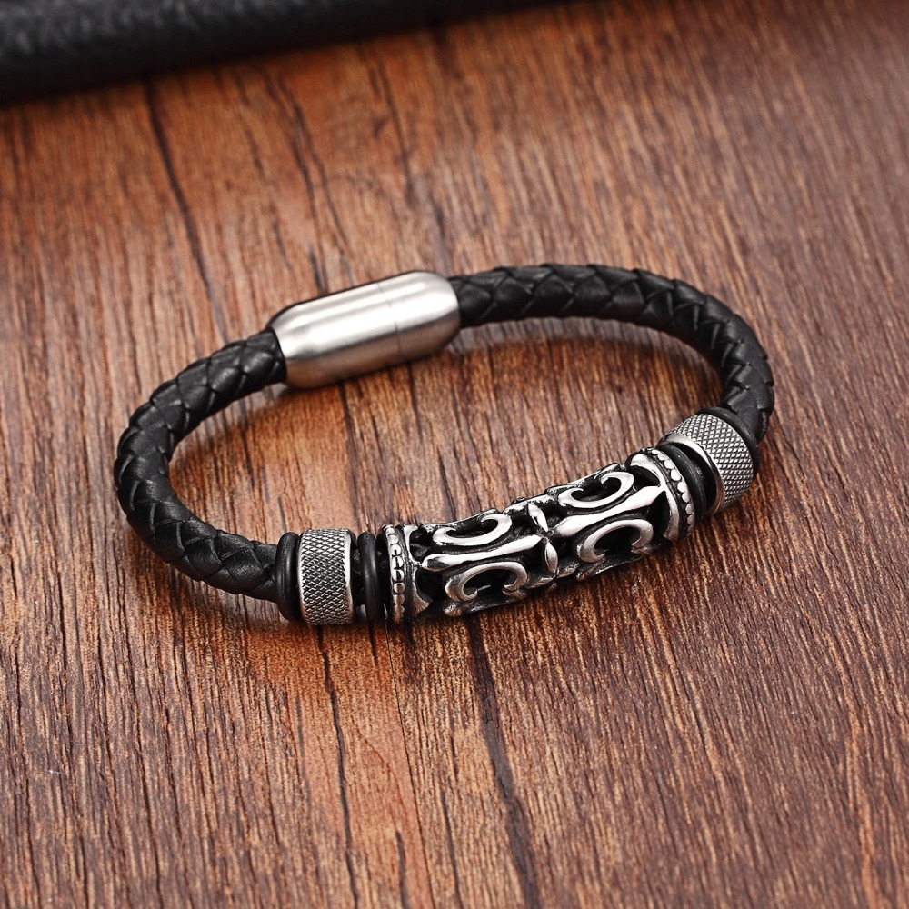 XQNI 2018 New Fashion Exaggeration Design with Stainless Steel Magnet Buckle Adjustable Genuine Leather Bracelet For Men Gift