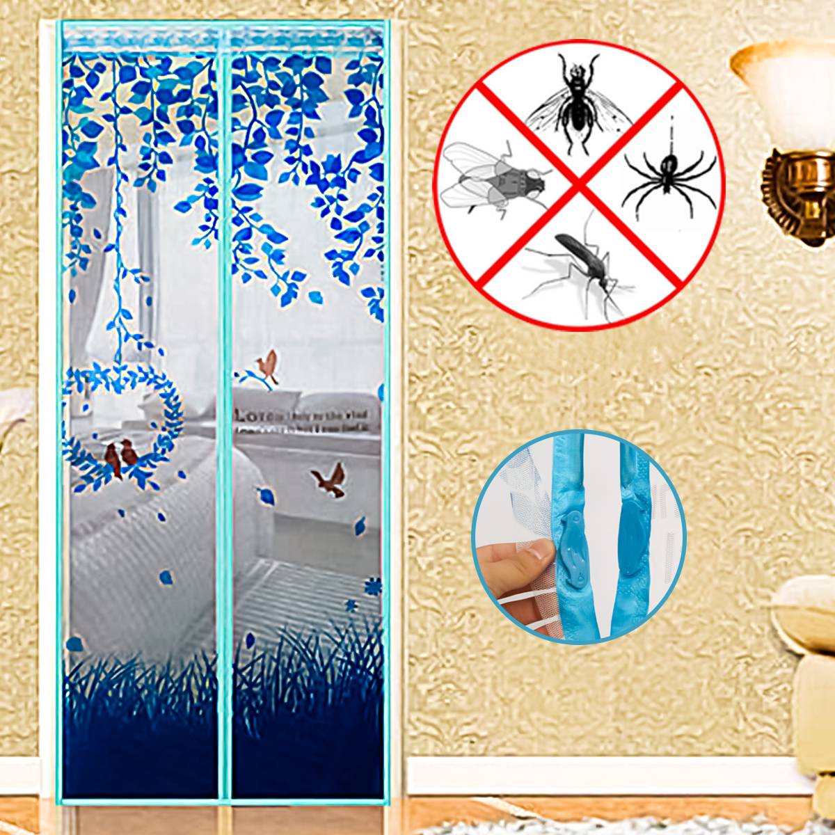 4 Colors Anti Mosquito Insect Fly Bug Curtains Magnetic Mesh Net Automatic Closing Door Window Screen Curtain Summer Use