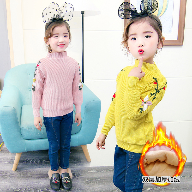 Knitted Sweaters For Girls 2018 Autumn Long Sleeve Kids Cardigan Sweater Plus Velvet Teenage Fashion Baby Girl Clothes 8 9 10 12 sweet bow girl sweater cardigan coat autumn kids knitted cotton sweater for baby girl long sleeve o neck cardigan girls clothing