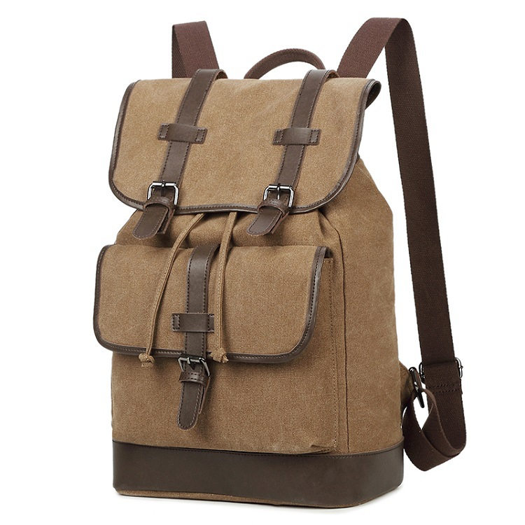 New canvas with leather shoulder bag solid color drawstring laptop bag large capacity vertical travel bag retro men's backpack retro style two front pockets laptop compartment vintage canvas solid color backpack