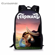 ELVISWORDS Kids School Bags Ferdinand Prints Pattern Childrens Kawaii Travel Backpack Cool Toddler for Boys