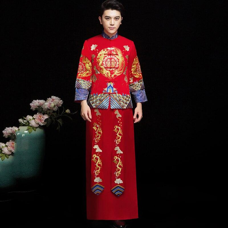 Rouge hommes à l'étranger chinois Vintage bouton Qipao Mandarin col classique Toast vêtements Cheongsam broderie Dragon robe de mariage