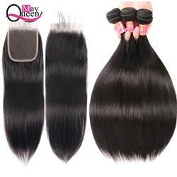 Май королева предварительно цвет ed бразильские не Реми волосы человеческие Weave Связки с закрытием натуральный цвет прямые 3 Связки с