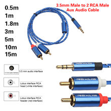 3.5mm Jack Male To 2 RCA Male Cord Audio Cable Headphone Splitter Aux Adapter Cable Wire for Amplifier Phone Theater Headphone(China)