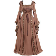 New  Cosplay Dress Women Celtic Medieval Renaissance Gothic Maxi Vintage Patchwork