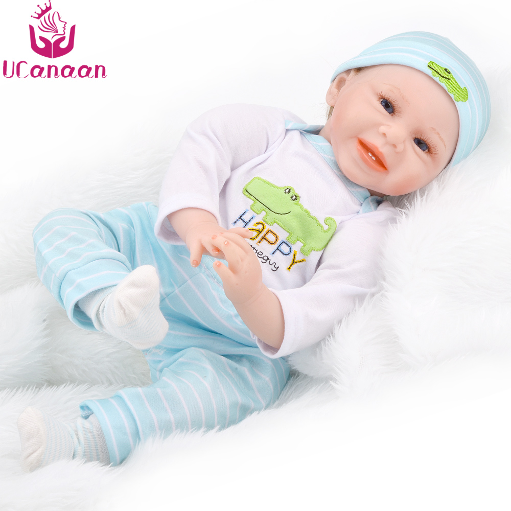 UCanaan 55CM Cloth Body Doll Reborn Vinyl Silicone Baby Born Toys For Children Kawaii Dolls For Girls Birthday Juguetes Kids Toy 18 inch dolls handmade bjd doll reborn babies toys for children 45cm jointed plastic toy dolls for girls birthday gifts juguetes
